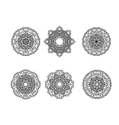 Set of round ornament vector