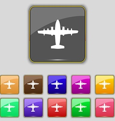 Aircraft icon sign set with eleven colored buttons vector