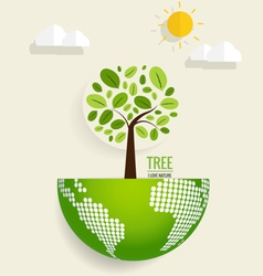 Eco friendly ecology concept with globe and tree vector