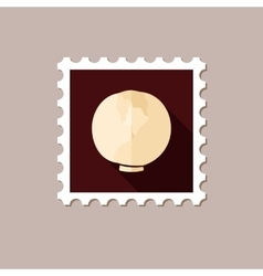 Cabbage flat stamp with long shadow vector