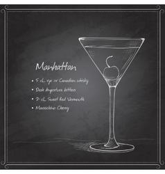 Cocktail manhattan on black board vector