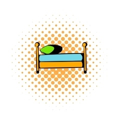 Single bed comics icon vector