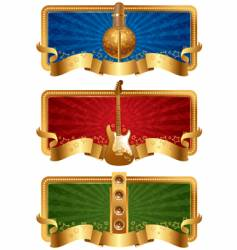 musical golden banners vector image