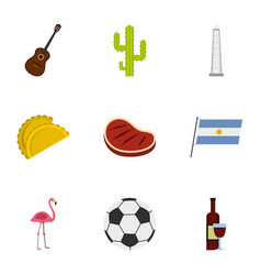 attractions of argentina icons set cartoon style vector image