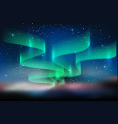 Aurora and a lot of stars on starry blue sky vector