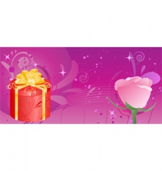 banner with gift and rose vector image vector image