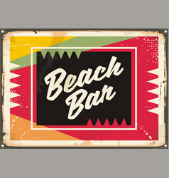 beach bar retro sign vector image vector image