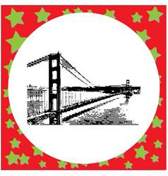 Black 8-bit golden gate bridge in san francisco vector