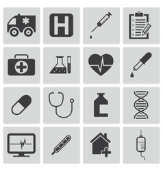 black medical icons set vector image