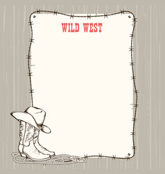 Cowboy background with western boots and hat vector