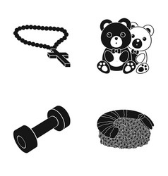 Cross toy and other web icon in black style vector