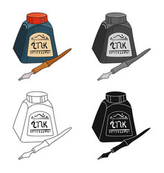 Dip pen with inkwell icon in cartoon style vector