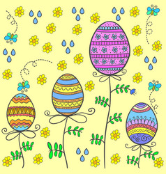 Doodle of easter egg on yellow background vector
