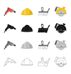 Electric drill construction helmet spatula for vector