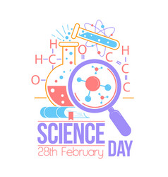 Greeting card national science day vector