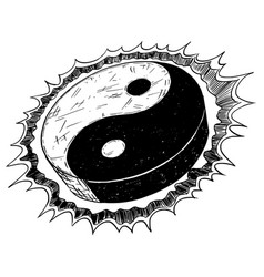 Hand drawing of yin yang jin jang symbol vector