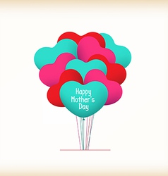Happy mothers day with heart balloons vector