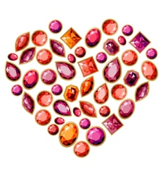Jewellery heart made of different gems vector image