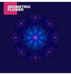 Luxurious geometric blue lotus flower on a dark vector