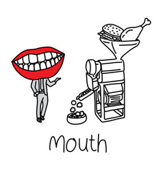 Metaphor function of mouth cavity to aid in the vector