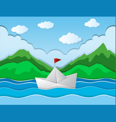 Paper boat floating along river vector