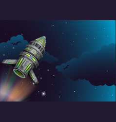 rocket flying in the dark space vector image