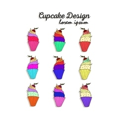 set with decorated cupcakes vector image vector image