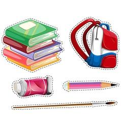 Sticker set with school equipment vector image vector image