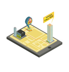 Taxi mobile service isometric vector