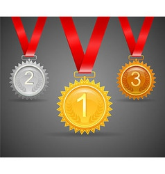 Three medals for awards vector image