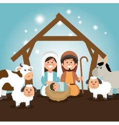 traditional manger merry christmas vector image
