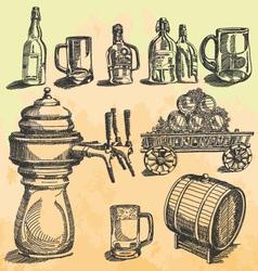 vintage beer hand drawn engraving vector image