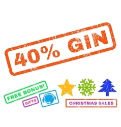 40 percent gin rubber stamp vector