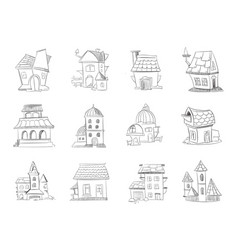 Hand drawn cartoon different houses buildings vector