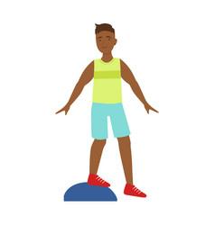 Man doing exercises on a platform colorf vector