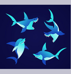 Shark - modern set of flat vector