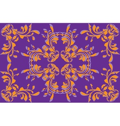 Yellow flower pattern on violet background vector