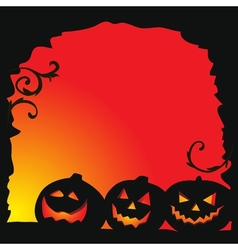 Halloween background - three pumpkins vector