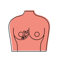 Female torso with breast cancer examining vector