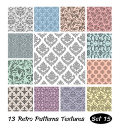 13 retro patterns textures set 15 vector