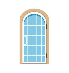 Glass paned arched front door closed elegant door vector