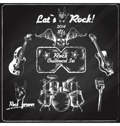 Rock music chalkboard set vector image