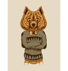 a Hipster Dog vector image