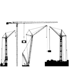 Set of black hoisting cranes isolated on white vector