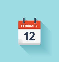 February 12 flat daily calendar icon date vector