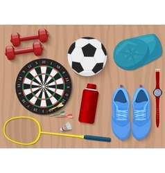 Sports equipment on wooden floor shoes darts vector