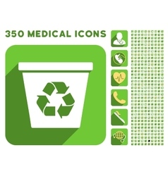 Recycle bin icon and medical longshadow icon set vector