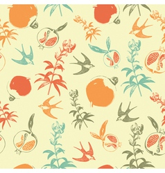 Retro swallows pattern vector
