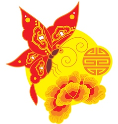 Chinese Style Butterfly and Flower vector image