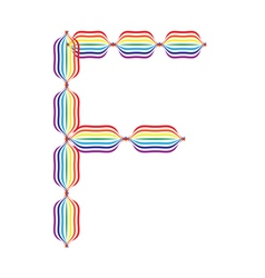 Letter f made in rainbow colors vector